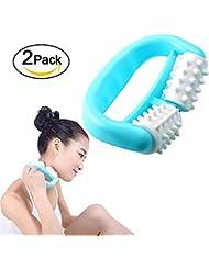 2つのセット、ローラーマッサージャー、アンチセルライトマッサージ、D形ハンドヘルドハンドルボディローラーマッサージャーマニュアルネックレスアーム用痛み緩和のための2輪、プラスチックローラーマッサージャー (青)