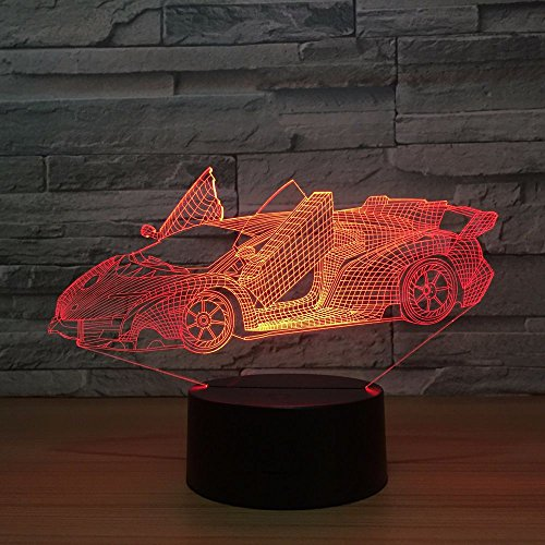 クールスーパー車アクリル3dランプ7色変更Small Night LightベビーカラーライトLED USBデスクランプAtmosphere Nightデコレーションランプ
