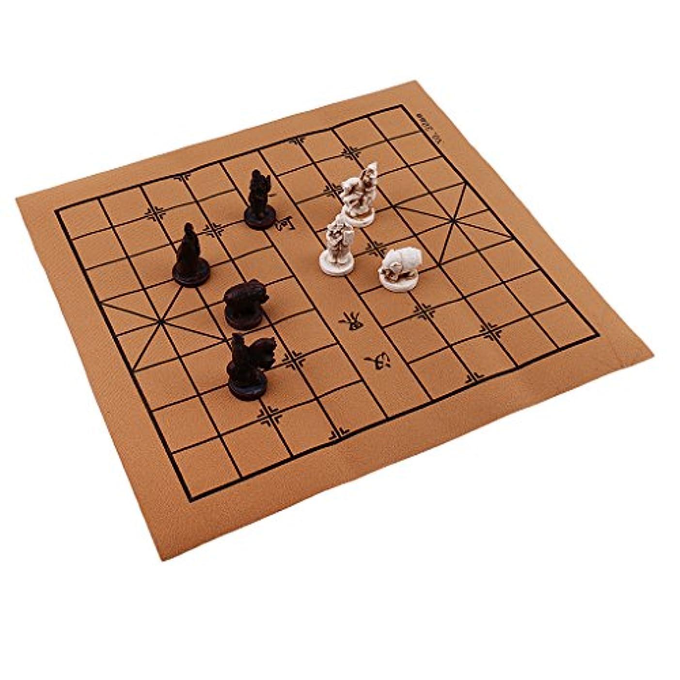 ファームしおれた受け入れたBaoblaze ヴィンテージ 中国 伝統的 チェス 樹脂 テラコッタの戦士 チェスピース 折り畳み式 チェス盤 手芸品