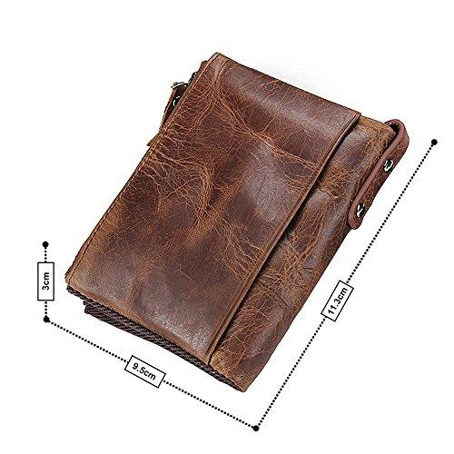 VECHOO 財布 二つ折り メンズ 革 柔らかい 小銭入れあり ブラウンVECHOO 二つ折り財布 メンズ、柔らかい大容量 本革財布、人気紳士財布、二重ファスナー小銭入れ (ブラウン)