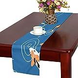 LKCDNG テーブルランナー カラフル 和風のコイ クロス 食卓カバー 麻綿製 欧米 おしゃれ 16 Inch X 72 Inch (40cm X 182cm) キッチン ダイニング ホーム デコレーション モダン リビング 洗える