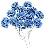 バラ 造花 50個 茎付き 8cm セット 手作り アレンジメント 結婚式 バレンタイン お祝い に(青)