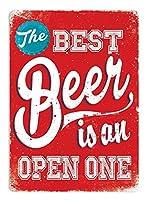 最高のビール赤注意看板メタル金属板レトロブリキ家の装飾プラーク警告サイン安全標識デザイン贈り物