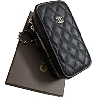 ファッションレディーバッグ携帯電話バッグ化粧品バッグ高強度 丈夫なポーチ 撥水 2ポケット (ブラック)
