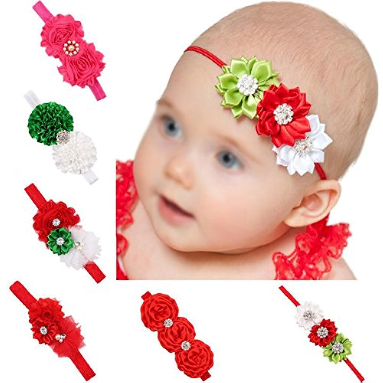 hosaire 6 pcs赤ちゃんの女の子のクリスマス美しい伸縮性ヘッドバンド花ヘア