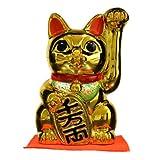 招き猫 6号 黄金手長小判猫(左手) 常滑焼