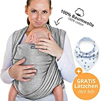 100%コットン製ベビースリング - ライトグレー - 最高15 kgまでの新生児や赤ちゃん用の高品質ベビーキャリア - 100%コットン製 - 税込。収納袋と無料のベビーよだれかけ - Makimaja®による素敵なデザイン