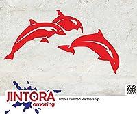 JINTORA ステッカー/カーステッカー - Dolphin Jump - イルカジャンプ - 149x83mm - JDM/Die cut - 車/ウィンドウ/ラップトップ/ウィンドウ- 赤