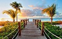 ビーチの夕日 -A001 風景の写真 キャンバス印刷アートポスター(60cmx90cm)