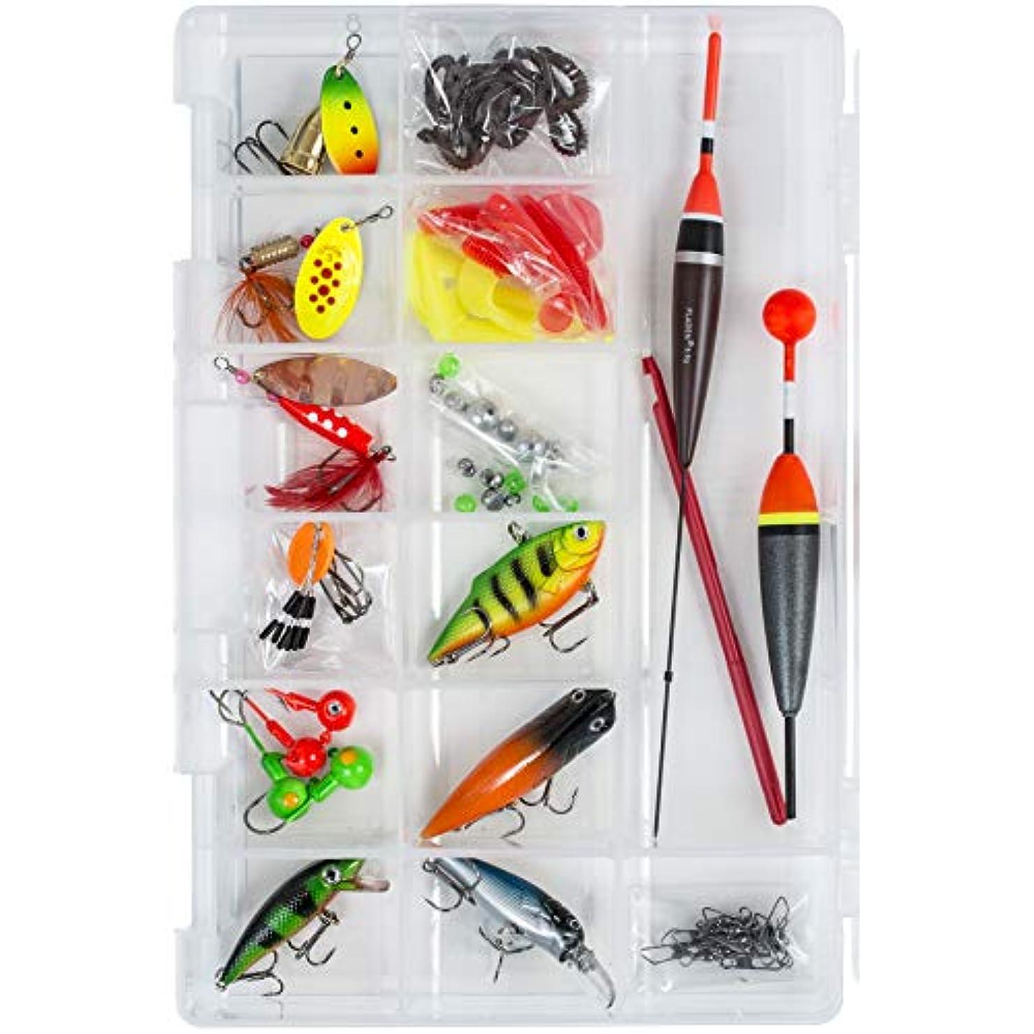 身元学ぶ告発FLADEN Fishing - とまり木釣りのためのルアーとアクセサリー付きロードされたタックルボックス[16-7598]
