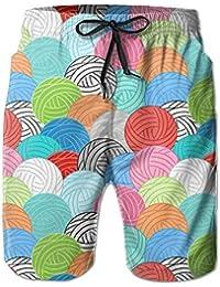 カラフルな毛糸 メンズ サーフパンツ 水陸両用 水着 海パン ビーチパンツ 短パン ショーツ ショートパンツ 大きいサイズ ハワイ風 アロハ 大人気 おしゃれ 通気 速乾