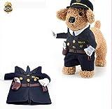 Milkee 犬服コスプレ ペット服  ペットウェア 小型猫、犬服 クリスマスの服 ドレスアップ マントセット 変身 コスプレ (S, 警察)