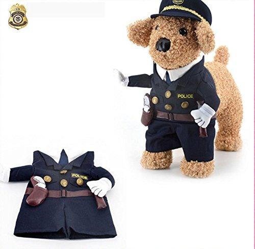 Milkee 犬服コスプレ ペット服  ペットウェア 小型猫、犬服 クリスマスの服 ドレスアップ マントセット 変身 コスプレ (L, 警察)
