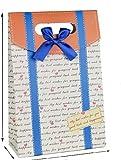 【hana-world】お洒落 大 英字にブルーのライン&リボン付き&ハート ギフトバッグ 紙袋 リボン付き ポップでキュートなデザイン 大サイズ 2枚セット 贈答用 ギフト 紙袋 プレゼント ラッピング 大