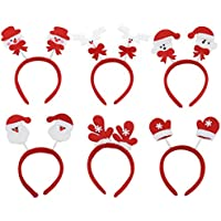 (Pack of 6) Women Girls Cute Christmas Headband Decoration Santa Claus Snowman Festival Hair Band Hair Accessories Christmas Gift