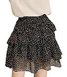 AOZUOレディース ケーキスカート 夏 ドット 薄手 ペプラムスカート シンプル シフォン ショートスカート エレガント 快適 ミニスカート 涼しい 着痩せ 通勤通学ブラックC