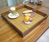 """正方形木製ウィッカー籐フルーツ食べ物Serving Tray 201/ 8"""" x 201/ 8"""""""