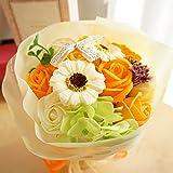 【ベルシック】 フレグランスソープフラワー ローズ&ガーベラ・オレンジ ほのかに香るお花   枯れないお花 お祝・お見舞い ギフトクリアバック付  (オレンジ)