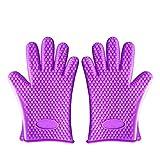 BOBILIFE - 5指クッキンググローブ 男女兼用左右対称耐熱温度220℃耐熱BBQグローブ手袋バーベキュー手袋同梱1ペア手袋 (パープル)