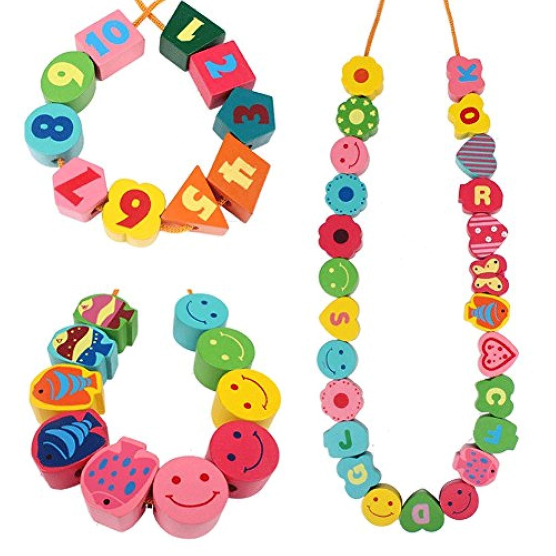 教育子供木製おもちゃStringing子おもちゃゲームheart- ShapedビーズNumbers Letters動物ミックスブロック