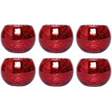 Hosley Set of 6 Red Crackle Glass Tea Light Holders 3.94 Inch Diameter. Ideal Gift or Use for Weddings Special Occasions Voti