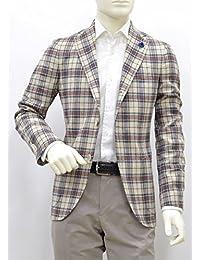 (ラルディーニ) LARDINI シルク混 チェック ジャケット 48サイズ シルク×リネン(麻) アイボリー×ブルー×グリーン×レッドのチェック柄 jacket PS32528AE PSRP42546 [並行輸入品]