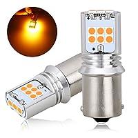 BORDAN S25 シングル アンバー led ウインカー バルブ ピン角度180度 オレンジ LEDバルブ 15連 3030SMD 無極性 2個セット 1年保証付き