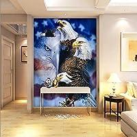 Xbwy カスタム3D写真の壁紙3Dステレオ壁紙アメリカンイーグル油絵カスタムリビングルームの壁紙ロビースタジオ壁画-120X100Cm