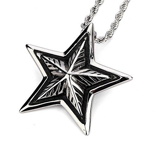 [해외]MFYS Jewelry 패션 남성 액세서리 스틸 실버 다섯개 별 별 모양 스타 별 디자인 펜던트 목걸이 (체인 포함) 전용 쥬얼리 BOX 부/MFYS Jewelry Fashion Men`s Accessories Steel Silver Pentacle Star Star Star Star Design Pendant Necklace (with ...