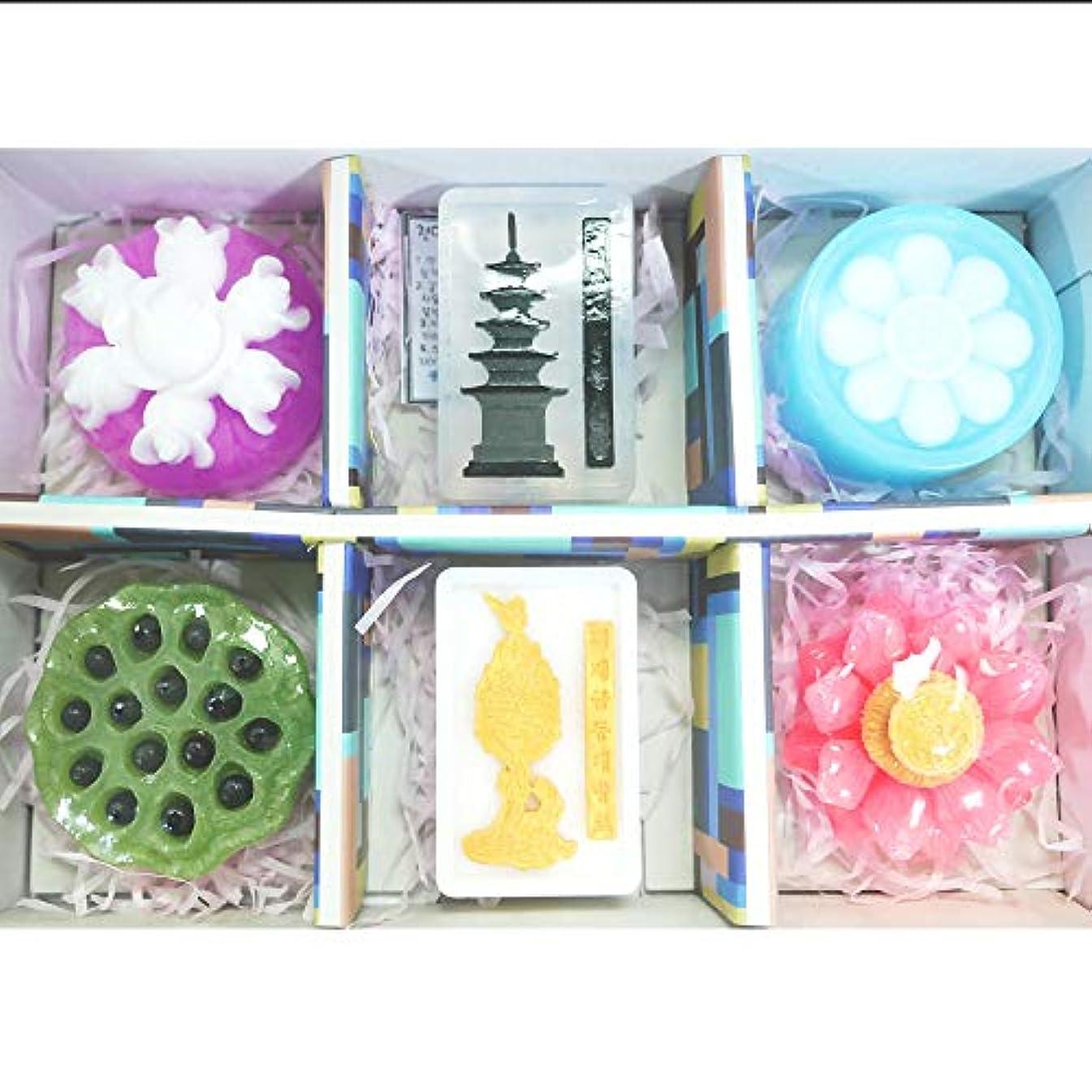 弾力性のあるパドル加入[ソドン] 韓国 百済 手漉き石鹸 1 セット(3.5オンスx 6石鹸)