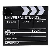 カチンコ 木製 監督用ボード 自主製作 映画撮影 ドラマ 部活 黒板 白色&黒色 - ブラック