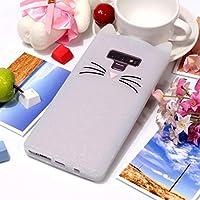 ケース・カバー SamsungギャラクシーNote9のための無地猫のひげパターンのシリコーンの保護箱 自宅の電話ケース (色 : 白)