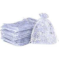 50 Pack White Organza Drawstring Gift Bags Party Wedding Favor Jewelry Pouches,10cm x15cm