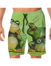 メンズ水着 ビーチショーツ ショートパンツ グリーン カエル スイムショーツ サーフトランクス 速乾 水陸両用 調節可能