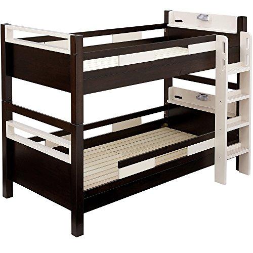 高耐荷重 耐震 宮付 エコ塗装 二段ベッド クレイユ (ブラウン×ベージュ)