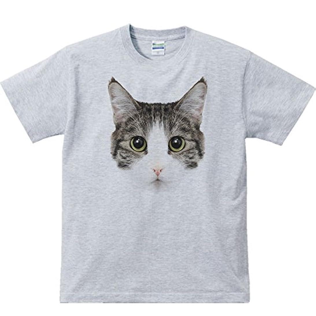 ぬれた魅惑する設置エムワイディエス(MYDS) ミックス猫の顔(サバトラ白/雑種)/半袖Tシャツ
