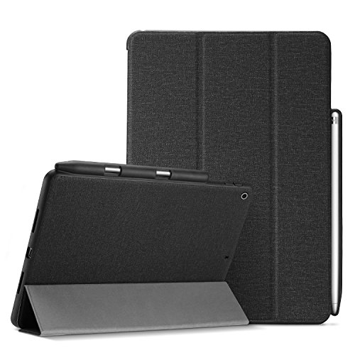 ProCase iPad 9.7 ケース 超薄型 軽量 スリム フォリオケース 保護ケース スマートカバー iPad 9.7 2018 iPad 第六世代/2017 iPad 第五世代 専用 Apple Pencil ホルダー付き –ブラック