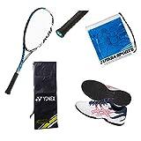 軟式テニス新入生スタートセット!ソフトテニスラケット&テニスシューズセット ADX02LTG-TLL733 0123:ホワイト×ファイアリーレッド/27.0cm 002:ブルー