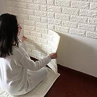 3D 立体 壁紙 シール レンガ 調 ブリック タイル 白 77cmx70cm (10枚セット)