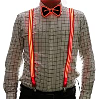 2 Pcs/Set, Light Up Men's LED Suspenders And Bow Tie, Perfect for Music Festival Halloween Costume Party