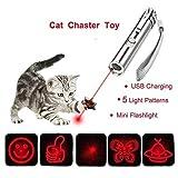 [アップグレード版] 猫 おもちゃ レーザーポインター 猫 ペット用品 USB充電式 6モード 光源切り替え LEDライト懐中電灯 猫運動不足解消 ペットトレーニング