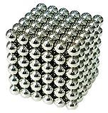 強力磁石の立体パズル!マグネットボール 5mm 216個セット シルバー (5mm, シルバー)