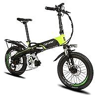 Excy(エクシ) XF500 自転車 折りたたみ MTB 250W 48V * 10Aリチウム電池(フレームに隠し) 20インチ超軽量 シマノ7段変速 マウンテンバイク サスペンション荷台付 自転車 (グリーン)