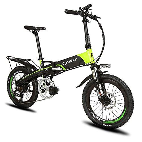 XF500 電動アシスト自転車 Cyrusher 折りたたみ 20インチ MTBマウンテンバイク 48V*10AHリチウムバッテリー 専用充電器付 荷台付(グリーン)