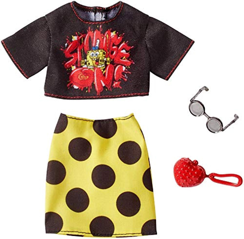 バービー 人形 洋服 スポンジボブ ブラックT イエロードットスカート 服 アクセサリー ファッションセット [並行輸入品]