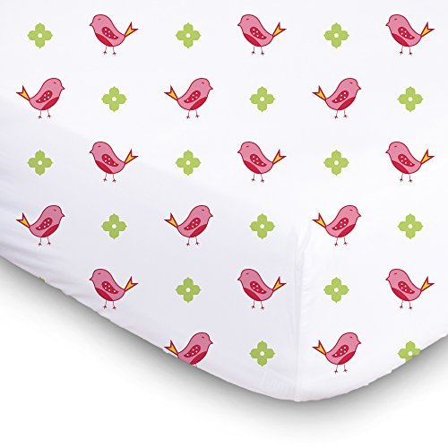 1 Muslin Cotton Baby Crib Sheet. Luxurious, Super Soft Soft & Breathable Toddler, Newborn Fitted Crib Sheet. Cute Pink Birds Baby Bedding for Girls Size 28