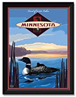 NorthwestアートMall PerhamミネソタLoon Framedアートプリントby Joanne Kollman。 18x24 / 20x26 inch JK-8248 NFF-EC