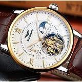 【!】Guanqin トゥールビヨン腕時計 スケルトン サファイア クリスタル GOLD&BROWN
