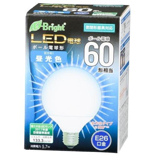 ボール電球形 E26 60形相当 昼光色 5.7W 760lm 全方向 127mm OHM 密閉器具対応 LDG6D-G AG22 06-3379