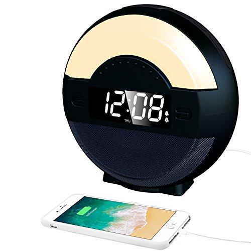 SVINZ 目覚まし時計 デジタル 置き時計 アラームクロック FMラジオ Bluetooth ワイヤレス ベッドサイドランプ スピーカー スヌーズ USB給電 調節 時間記憶 ライトSBC-007